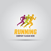 istock Running man silhouettes abstract isolated vector colored logo template with sample text 1280871654