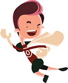 Running man superhero comic vector illustration cartoon character