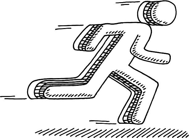 Running Man Symbol Drawing Hand-drawn vector drawing of a Running Man Symbol. Black-and-White sketch on a transparent background (.eps-file). Included files are EPS (v10) and Hi-Res JPG. running stock illustrations