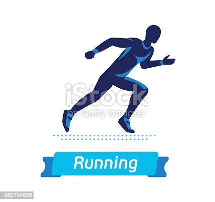 Running Man Symbol Or Badge Vector Silhouette Of Runner Stock Vector