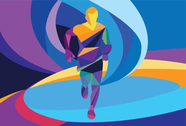 Running Man Running, Marathon, Winner, Art, Colourful active lifestyle stock illustrations