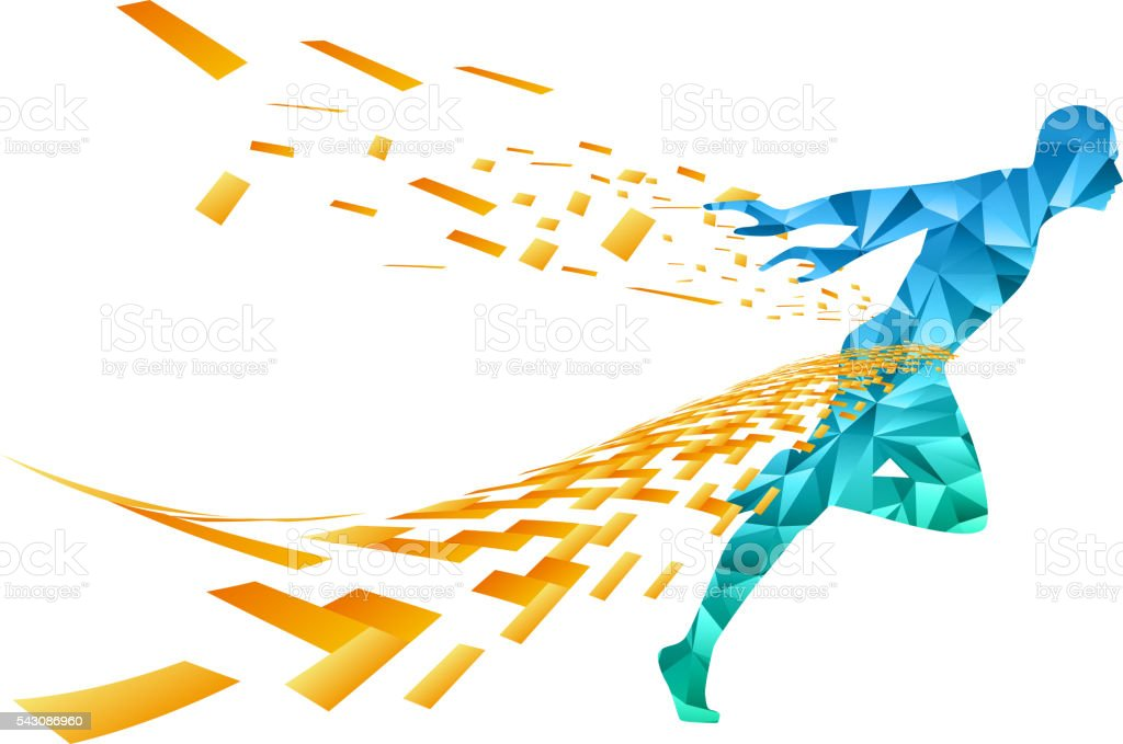 Running man vector art illustration