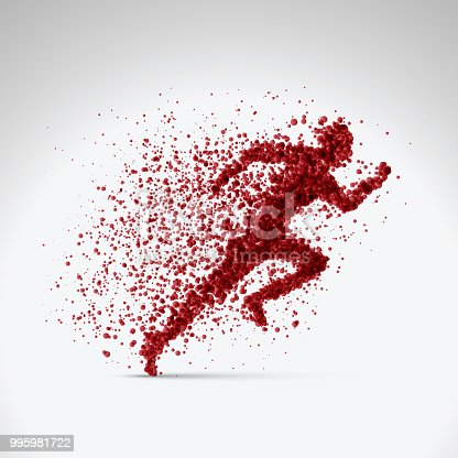 illustration vector of running man created from red particles