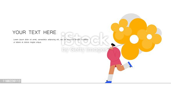 Running man with a bouquet of flowers. Vector illustration flat design. Use in Web Project and Applications.