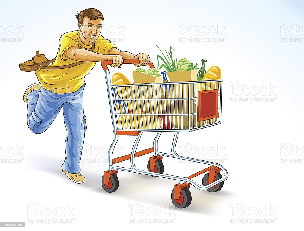 running man with shopping cart full of products royalty-free stock vector art