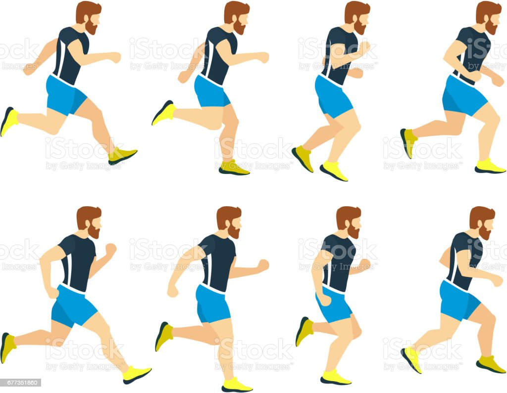 Running Man Young Athlete In Tracksuit Animation Frames Vector Sport ...