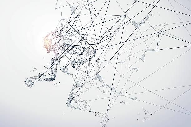 Running Man,Network connection turned into, vector illustration. vector art illustration