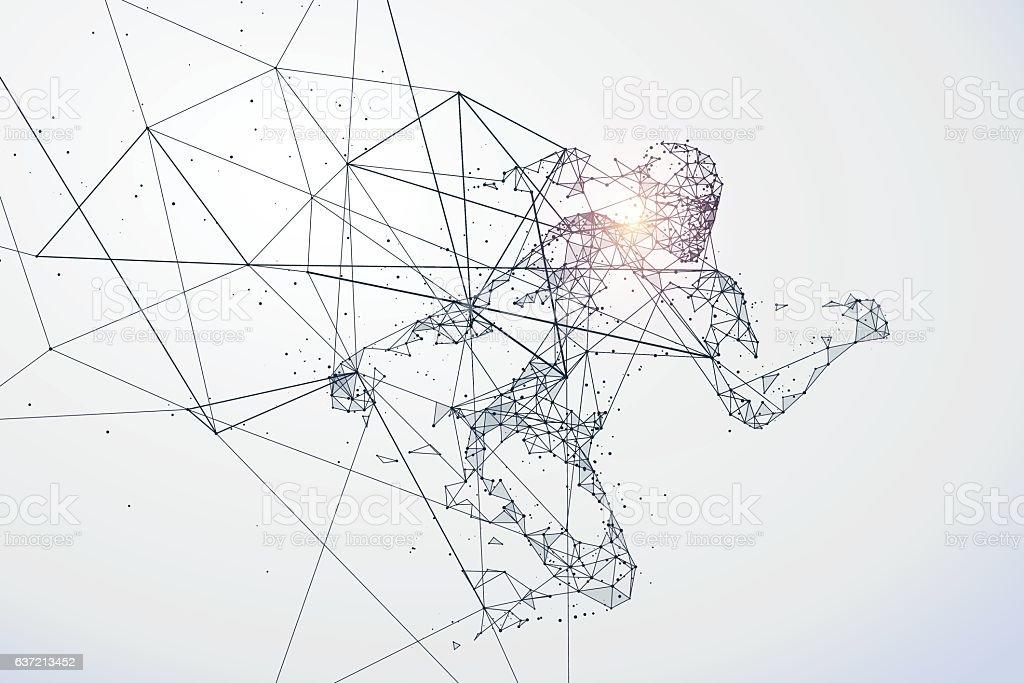 Running Man,Network connection turned into, vector illustration. Lizenzfreies running mannetwork connection turned into vector illustration stock vektor art und mehr bilder von abstrakt