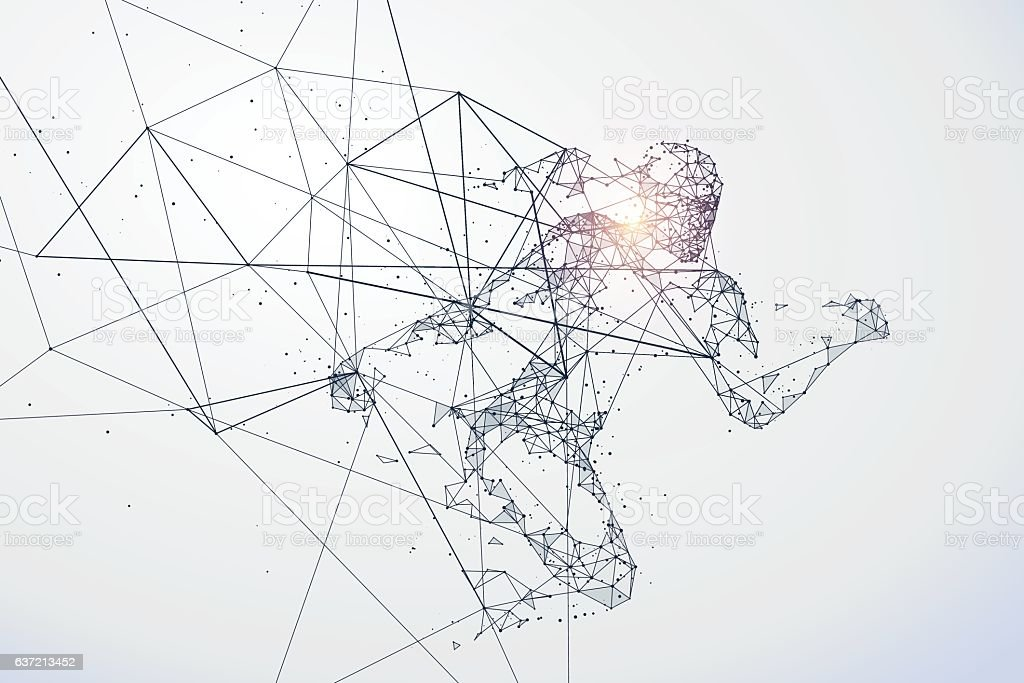 Running Man, Netzwerk-Verbindung in umgewandelt, Vektor-Illustration. - Lizenzfrei Abstrakt Vektorgrafik