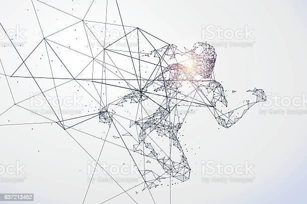 Running Man Netzwerkverbindung In Umgewandelt Vektorillustration Stock Vektor Art und mehr Bilder von Abstrakt