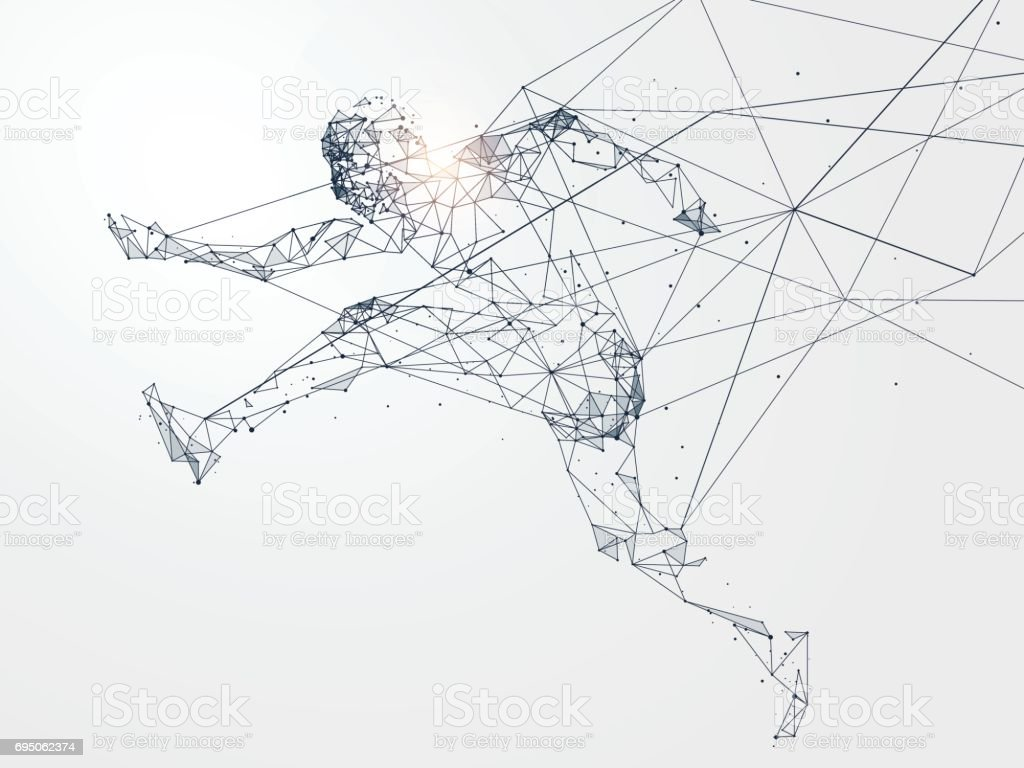 Running Man,Network connection turned into, vector illustration. vector art illustration