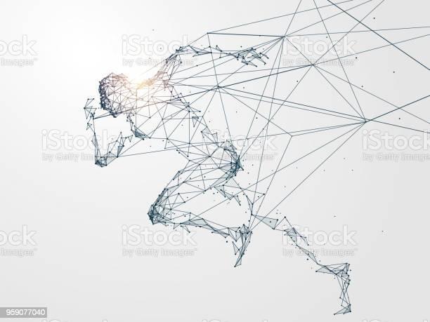 Running Man Netzwerkverbindung Umfunktioniert Vektorillustration Stock Vektor Art und mehr Bilder von Abstrakt