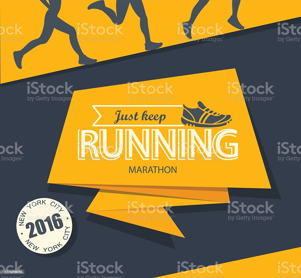 Running marathon and jogging. vector art illustration