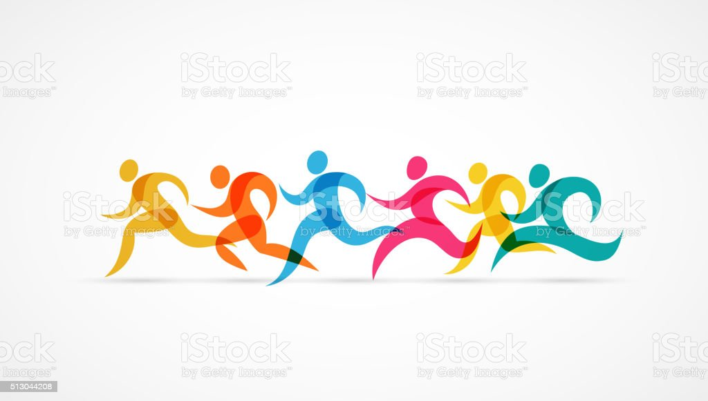 Running marathon colorful people icons and symbols vector art illustration
