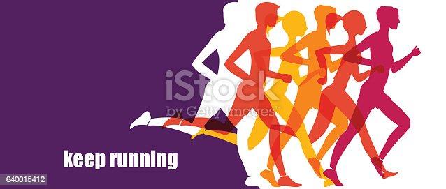 istock Running marathon, people run, colorful baner 640015412