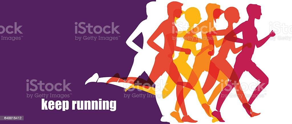 Running marathon, people run, colorful baner vector art illustration
