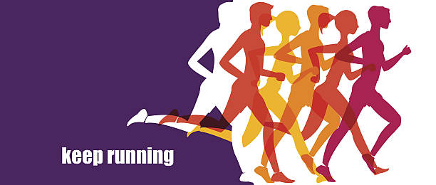 illustrations, cliparts, dessins animés et icônes de running marathon, people run, colorful baner - running
