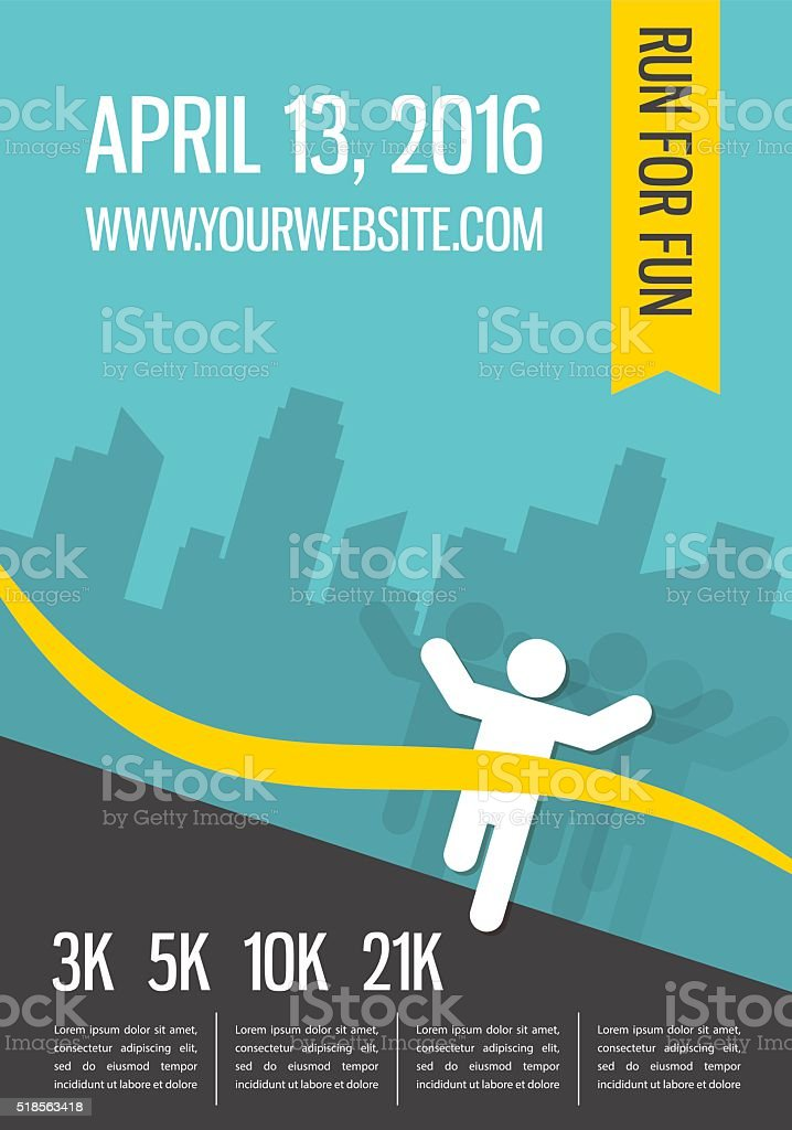 Running marathon, people run, colorful poster design vector art illustration