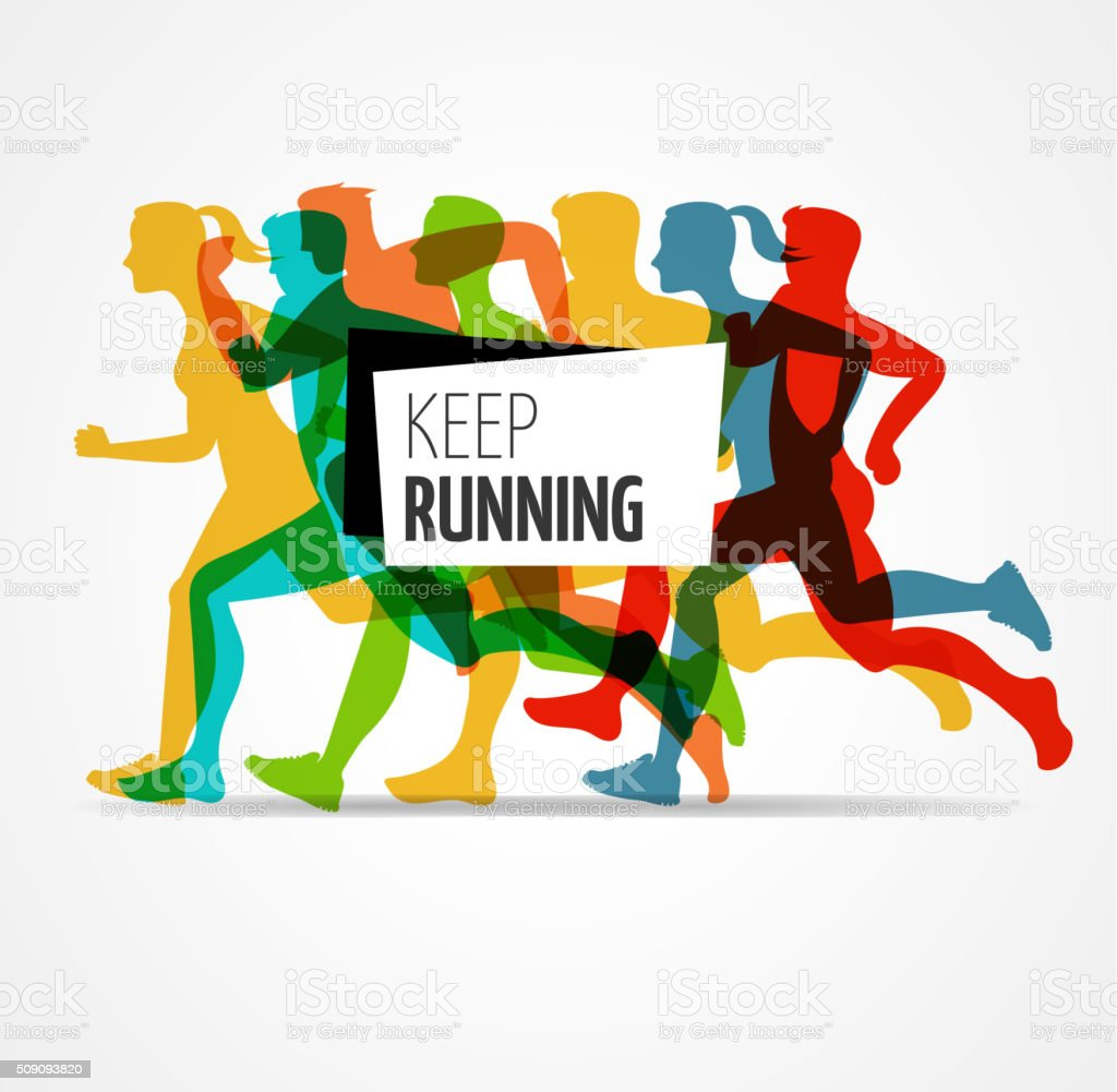 Running marathon, people run, colorful poster vector art illustration