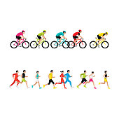 Running marathon, people run, colorful poster. Side view. Vector illustration