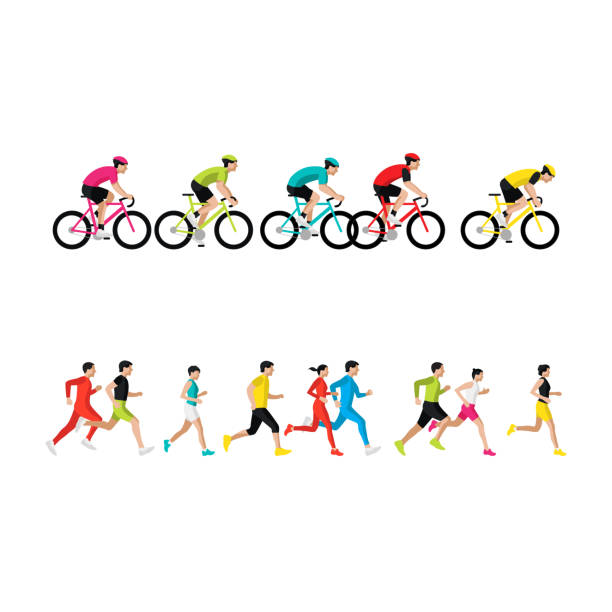illustrazioni stock, clip art, cartoni animati e icone di tendenza di maratona di corsa, gente corre, poster colorato. illustrazione vettoriale - ciclismo