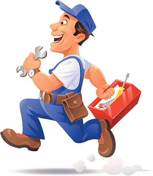 running mechanic - mechanic stock illustrations, clip art, cartoons, & icons