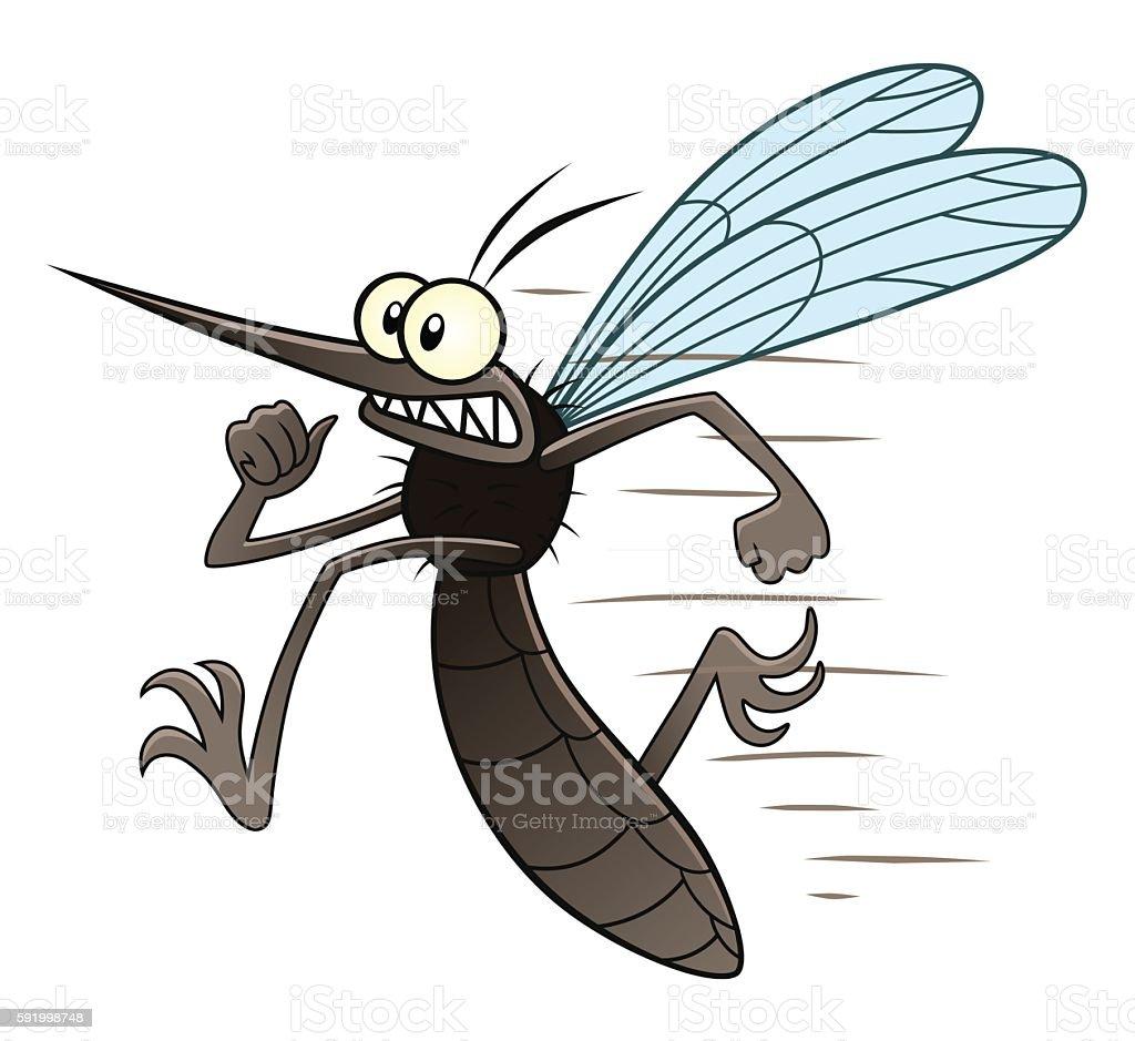 Running mosquito vector art illustration