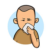 Running nose. Sick boy with a handkerchief. Cartoon design icon. Colorful flat vector illustration. Isolated on white background.