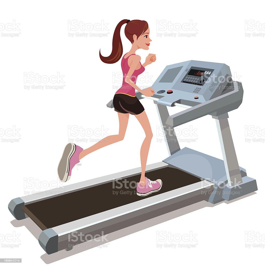 running on a treadmill vector art illustration