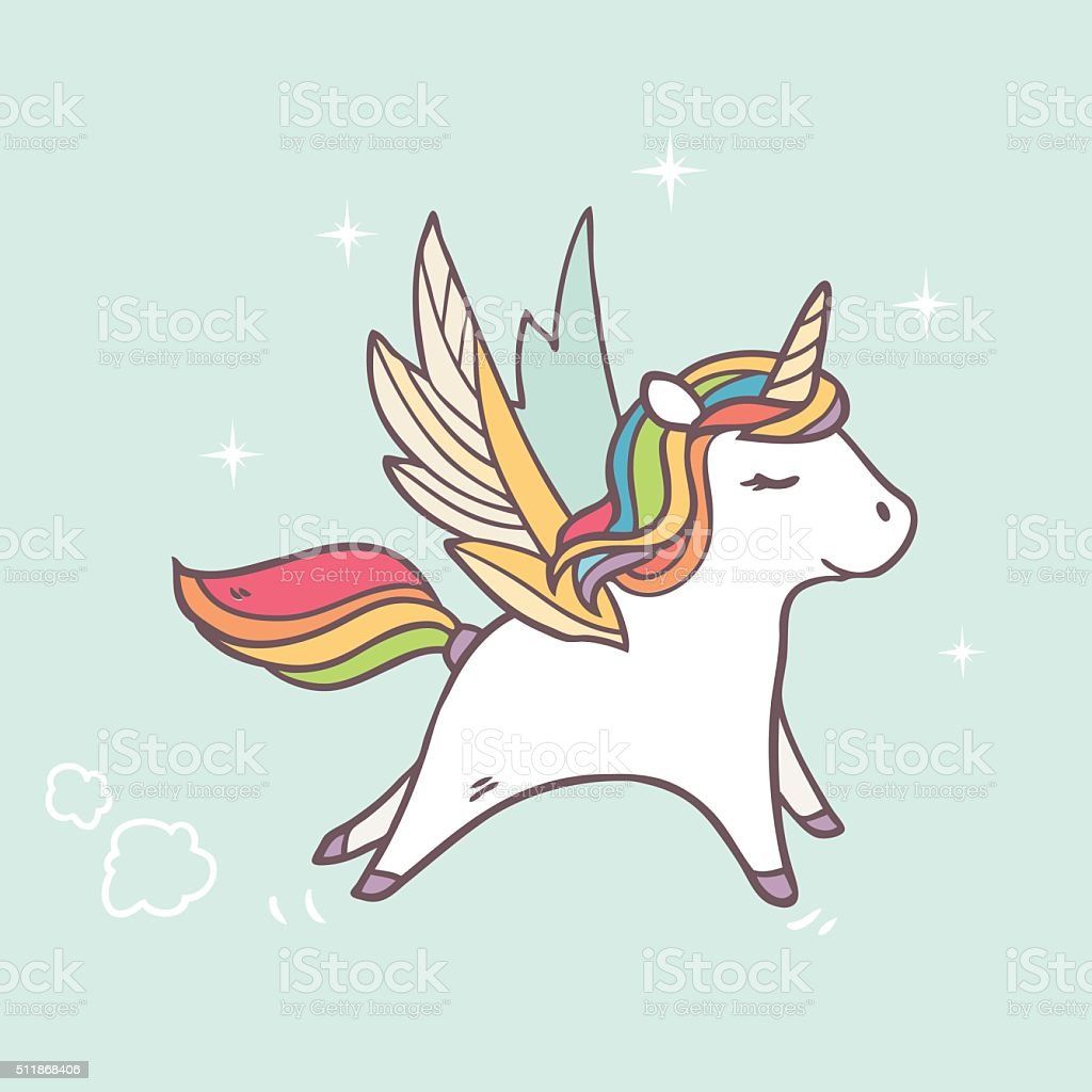 running pegasus in the sky vector art illustration