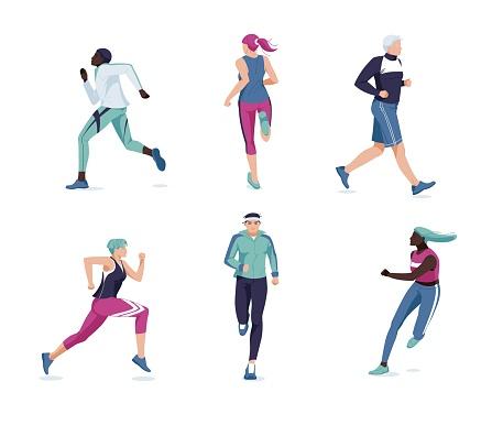 Running people flat vector illustration. Sport training isolated design element