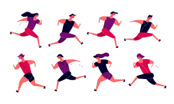 illustrations, cliparts, dessins animés et icônes de groupe de personnes en cours d'exécution en mouvement. hommes femmes formation extérieure de jogging - running
