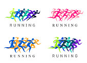 Running people illustration. Running men and women simple silhouettes for sport organizations, tournaments and marathons.