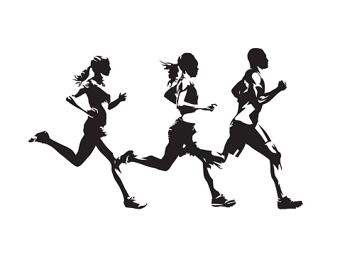 Running people, isolated vector silhouette. Group of runners. Man and women. Run