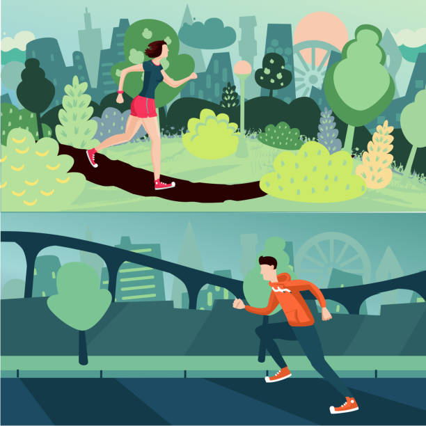 ilustrações de stock, clip art, desenhos animados e ícones de running people. morning run. man and woman are joing on a street and city park. sport and active couple. - young woman running city