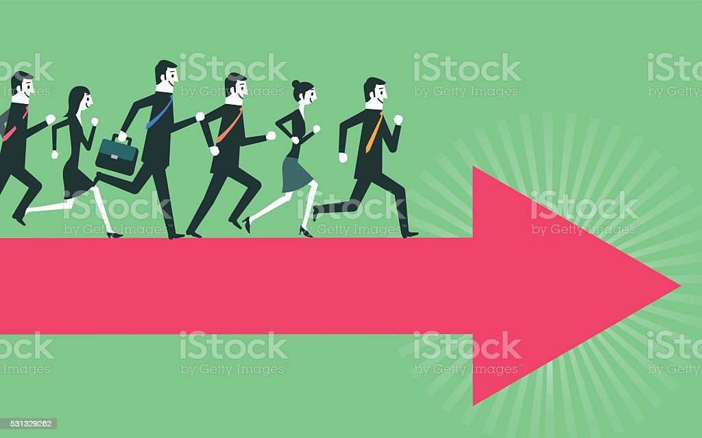 running people on arrow vector art illustration