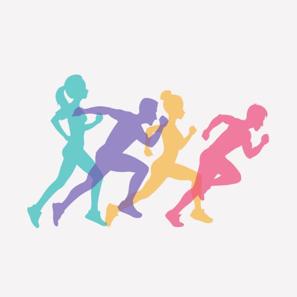 ilustrações de stock, clip art, desenhos animados e ícones de running people set of silhouettes, sport and activity background - running