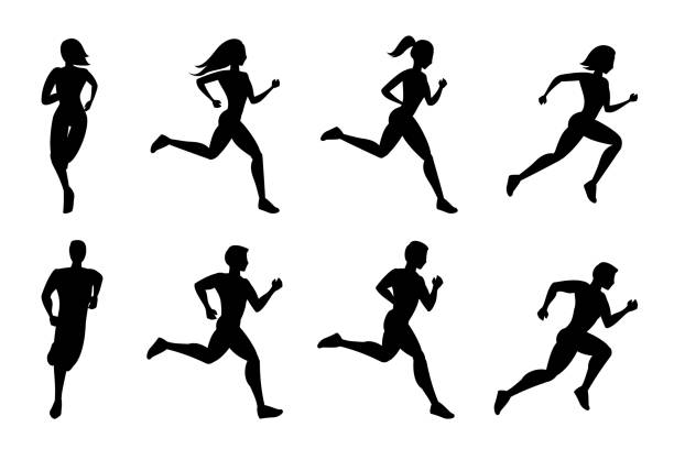 illustrations, cliparts, dessins animés et icônes de silhouettes de running personnes - running
