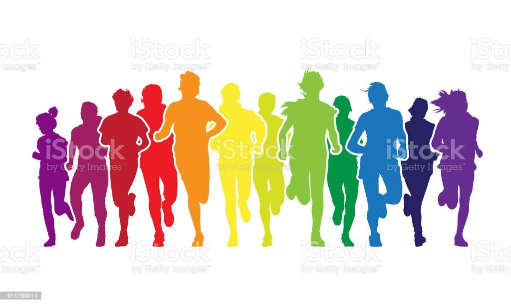 Running people vector art illustration