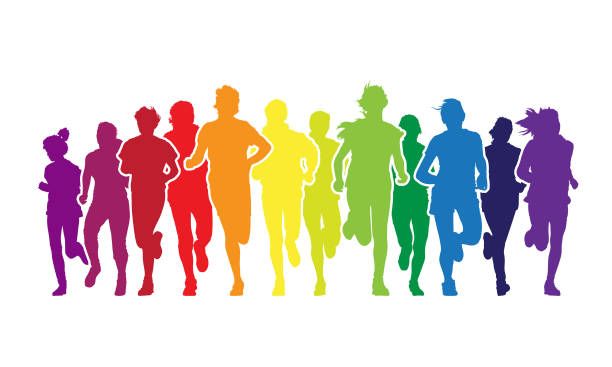 running people - blue clipart stock illustrations