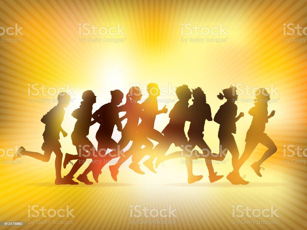 Running people vector art illustration
