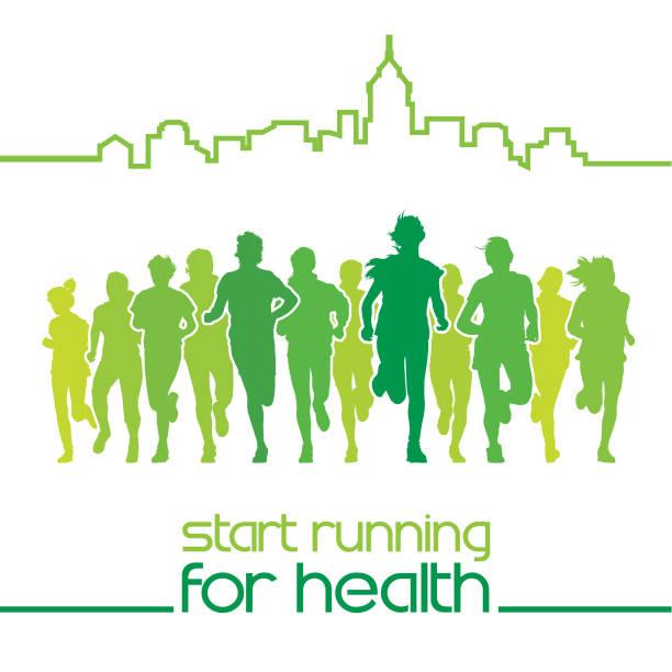 ilustrações de stock, clip art, desenhos animados e ícones de running people - young woman running city
