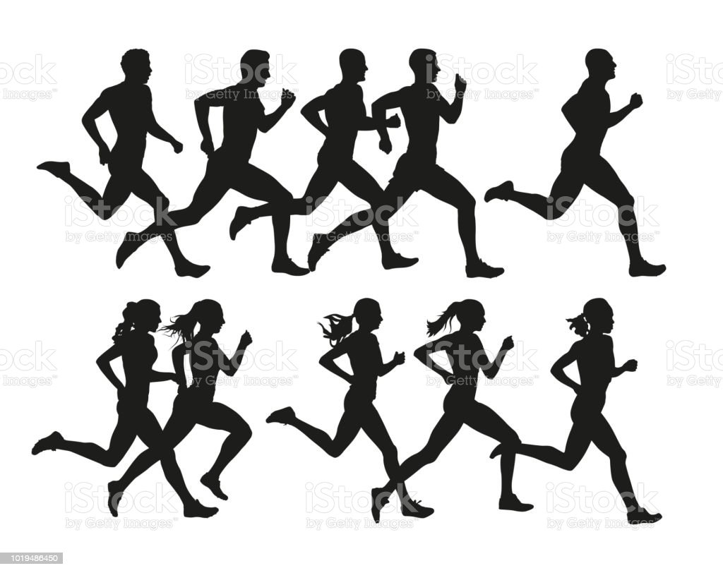 Running people, vector isolated silhouettes. Run, men and women vector art illustration