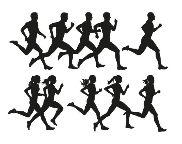 Running people, vector isolated silhouettes. Run, men and women Running people, vector isolated silhouettes. Run, men and women running stock illustrations