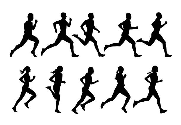 Running people, vector runners, group of isolated silhouettes, side view Running people, vector runners, group of isolated silhouettes, side view running stock illustrations