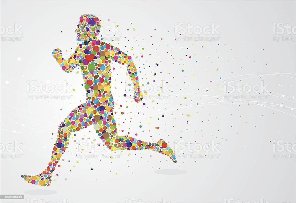 Running pixel man vector art illustration