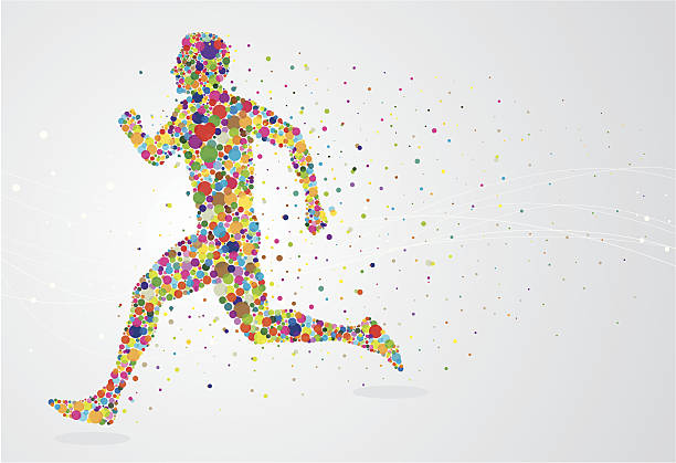 running pixel man - sports medicine stock illustrations, clip art, cartoons, & icons