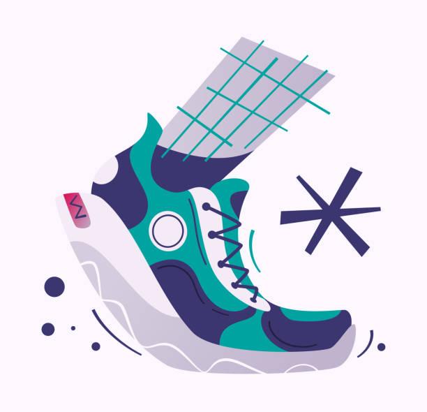 running poster. cartoon vector illustration. flat style - men shoes stock illustrations