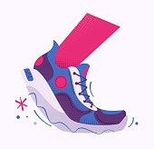 Running poster. Cartoon vector illustration. Flat style. Run club. Runner foot. Fast running sneakers. Sport activity. Healthy life concept.