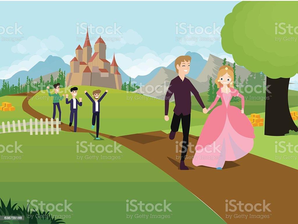 running princess, castle – Vektorgrafik